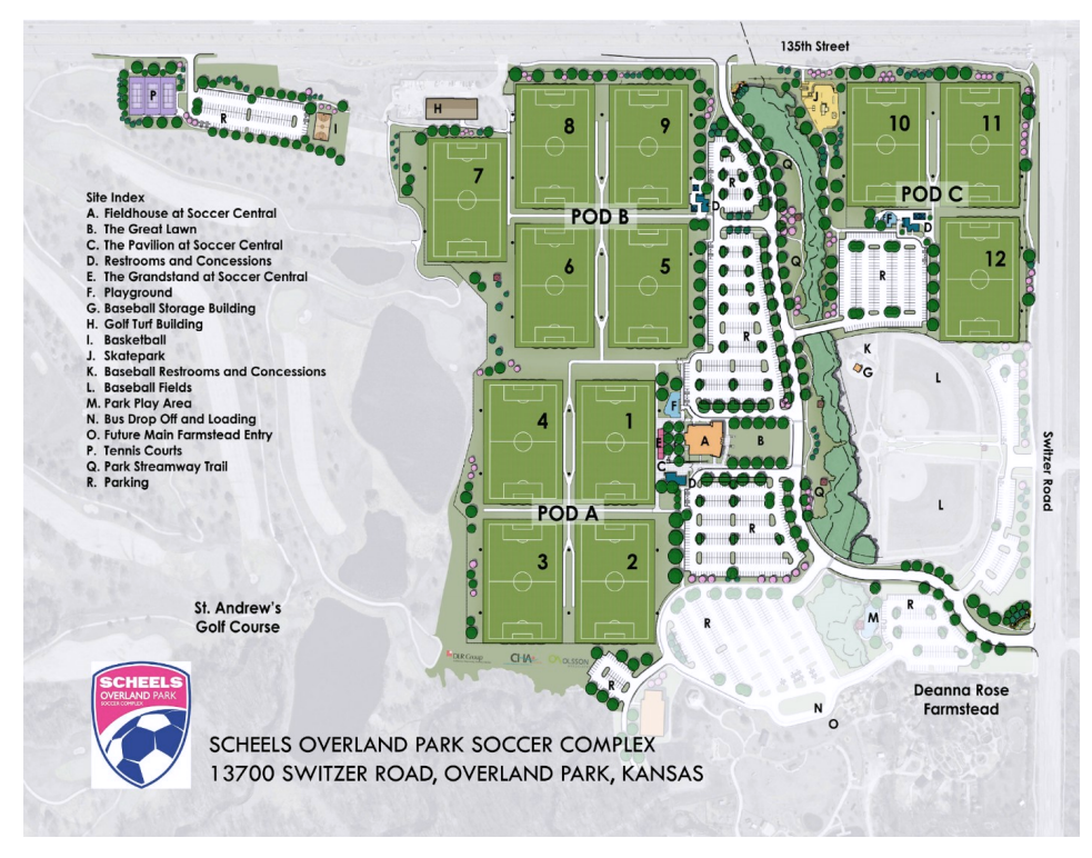 Overland Park Soccer Complex Map Overview | Overland Park Soccer Club Overland Park Soccer Complex Map