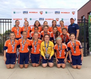 OPSC Extreme U15 girls coached by Jeff Schutzler winning the MAG tournament.