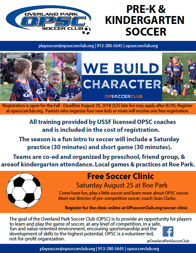 OPSC Free Soccer Clinic for Kindergarten and Pre-K
