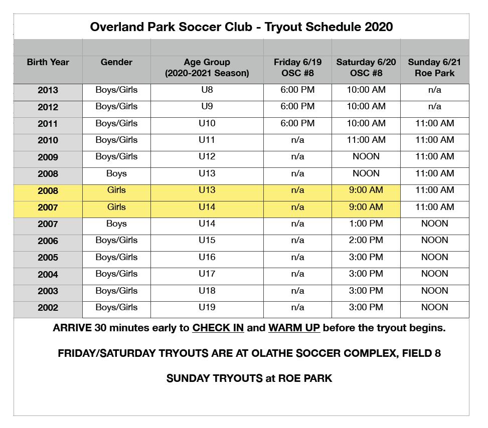 OP Soccer Club Tryout Schedule